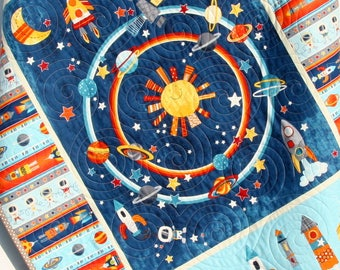 Baby Nursery Space, Planets Crib Bedding, Solar System Quilt, Science Nursery Decor, Astronomy Blanket for Baby, Cot, Navy Blue, Moon Rocket