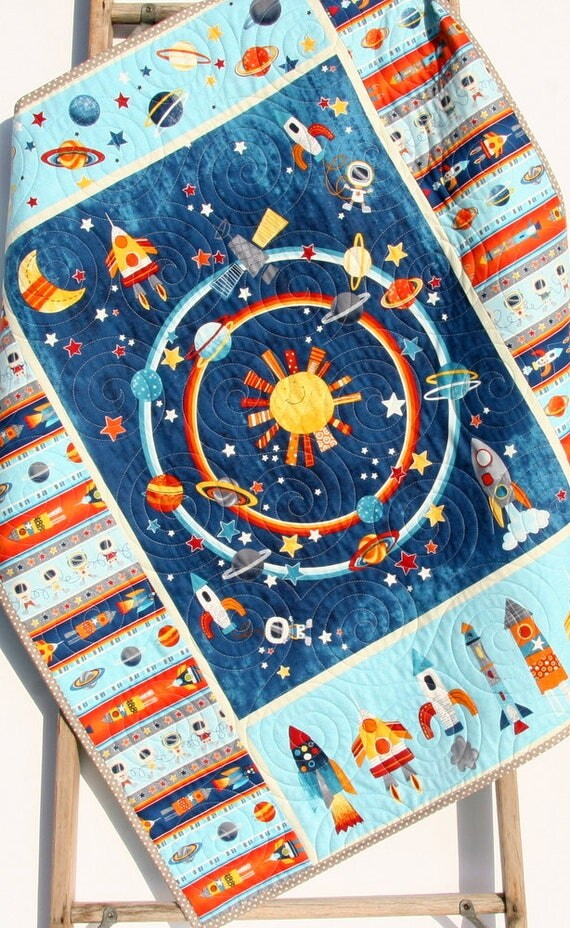 baby nursery space planets crib bedding solar system quilt. Black Bedroom Furniture Sets. Home Design Ideas