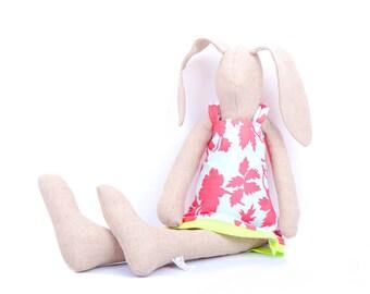 Linen doll Easter Bunny Rabbit rag doll Fabric doll Handmade bunny stuffed animal Textile doll Baby first doll Nursery decor Girl eco  gift