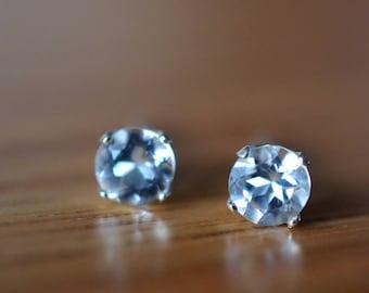 White Topaz Earrings, Natural Gemstone Earrings, Simple Sterling Silver Post Earrings, Clear Topaz Studs,  5mm Stone Studs, Topaz Jewelry