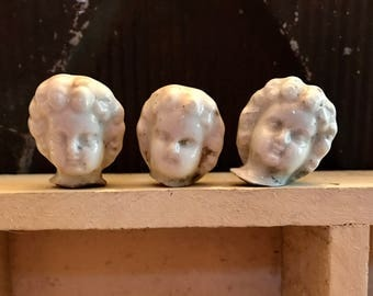 3 Vintage Frozen Charlotte DOLL Heads Dug Up 1900 German Jewelry Supplies Curiosity Cabinet Assemblage Oddity Fairy Doll Halloween 33A