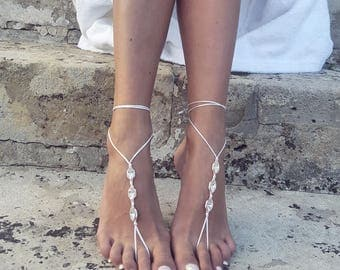 Barefoot Sandals/Rose Gold Anklet/Minimalist Foot Jewelry/Foot Thong/Boho Sandals/Gypsy Sandals/Bohemian Foot Wear/Feet Jewelry/FERE design
