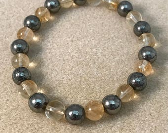 Citrine & Pyrite 8mm Round Bead Stretch Bracelet with Sterling Silver Accent