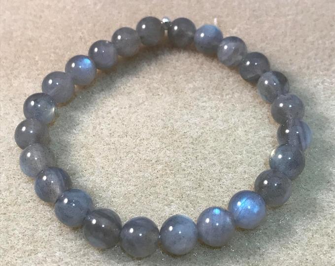 Labradorite Bracelet, Labradorite Beaded Bracelet, Bead Bracelet, Stretch Bracelet, Gifts for Her, Girlfriend Gift, 8mm AAA Labradorite
