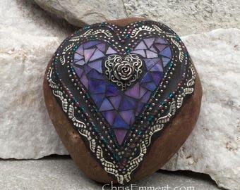 Purple Angel Wing Mosaic Heart, Mosaic Rock, Garden Stone, Home Decor, Gardener Gift, Garden Decor,