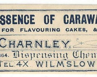 Vintage Essence of Caraway C. Charnley Dispensing Chemist Medicine Label ,C1910