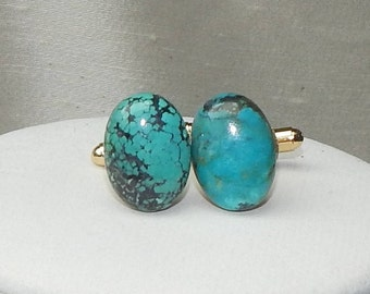 Turquoise cuff link, genuine turquoise cuff link,grooms cuff link,aqua cuff link,blue cuff link,turquoise and gold cuff link,wedding