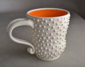 Dottie Coffee Mug Ready To Ship Coffee Tea Curvy Dottie Mug by Symmetrical Pottery