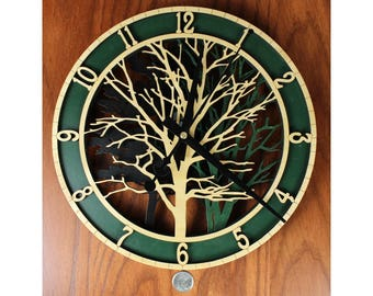 Green and Black Forest Clock, Wooden Clock, Stained Wall Clock, Laser Engraved, Masterpiece Laser