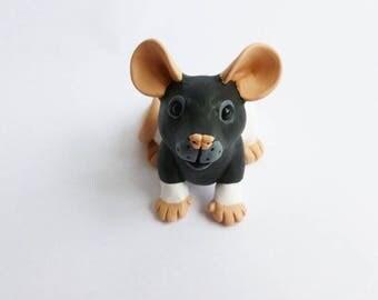 Black Hooded Rat Fancy Rat Sculpture Pet Rat Ornament Polymer Clay Mouse
