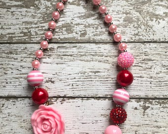 Girls Beaded Chunky Necklace, Girls Bubblegum Chunky Necklace, Pink and Red Chunky Necklace, Flower Necklace, Valentines Day Necklace
