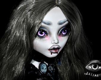 ON RESERVE for poprockspopculture Payment 3/3 monster high doll ooak repaint custom artist big 17 inch large tall gothic dark vampire - Mina