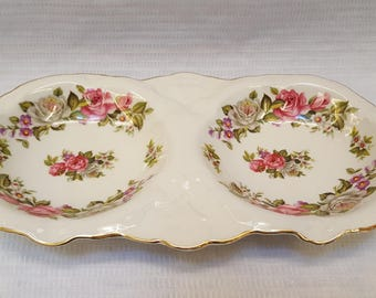 Old Foley Harmony Rose Double Candy Dish James Kent Staffordshire England
