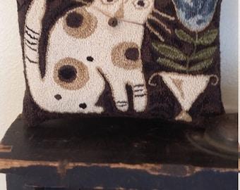primitive needle punch BLUE BELLE CAT small pillow
