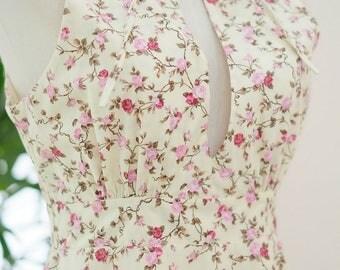 Sweet sundress floral dress creamy Yellow dress spring summer sundress ruffle neck dress Yellow bridesmaid dresses floral bridesmaid dress