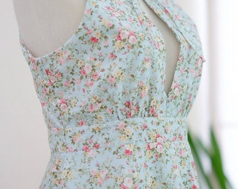 Blue dress Blue green dress sweet floral dress ruffle neck party dress Marry prom dress floral sundress Blue bridesmaid dresses