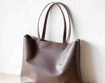 Large Mocha Leather Tote bag No. Ltb-1509