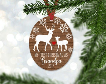 Personalized First Christmas as Grandpa Ornament, Keepsake Ornament, Grandfather 1st Christmas, Faux Wood, Christmas Gift (057)