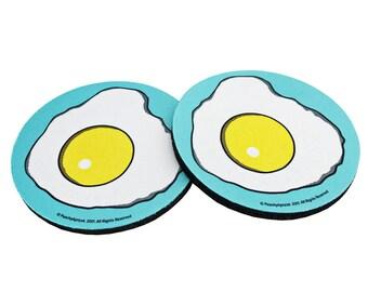 Eggs Coaster Set - Egg - Coasters - Fried Egg - Breakfast - Gift - Humor - Egg Illustration - Brunch - Yolk - Coaster -  Egg Birthday
