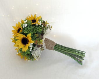 Sunflower bouquet etsy sunflower bouquet sunflower baby breath small bridal bouquet made to order nosegay junglespirit Image collections