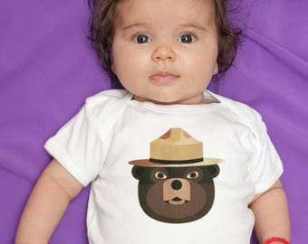 Smokey The Bear baby clothes, baby bodysuit for baby boy or baby girl, unique baby gift
