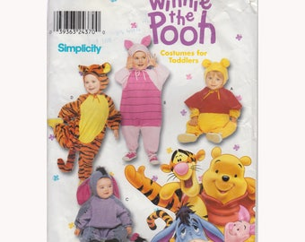 """Baby and Toddler Winnie the Pooh Costumes Sewing Pattern Piglet Tigger Eeyore Size 6 mo to 4 Yrs Chest 19-23"""" (48-58 cm) Simplicity 0603"""