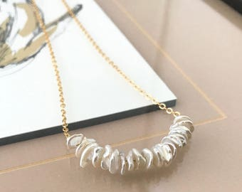 Gold Keshi Pearl Bar Necklace