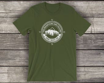 The Mountains Are Calling - Preshrunk Cotton T-Shirt - by Alpine Graphics - Choose Size and Color - T003