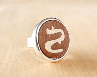 Wood ring, womens wood ring, wood rings for women, wood inlay ring, wood accessories, trendy jewelry, casual jewelry, gift for wife