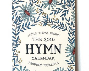 2018 Hymn Calendar by Little Things Studio Set of 8, 12 month calendar, wall calendars, come thou fount, gift for grandmother, desk calendar