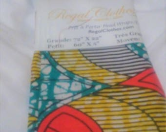 Teal Yellow Mosaic African Ankara Tribal Print Head Wrap Gift Idea Mom Women Turban Fashion  Holiday Fashion Scarf Mothers Day Gift For Mom