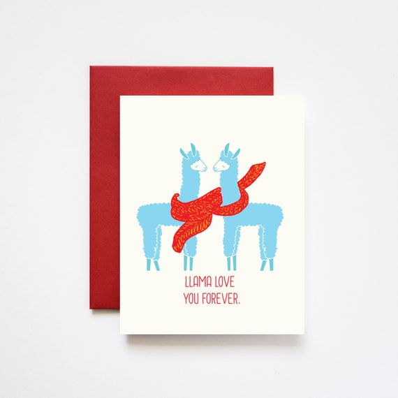 Llama Love You Forever Valentine Love Greeting Card
