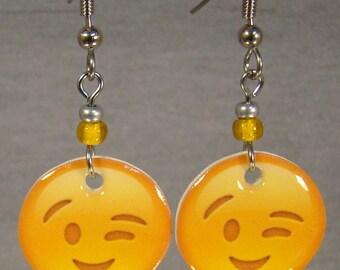 Emoji Dangle Earrings - Winking Emoji jewelry - Emoticon Jewellery