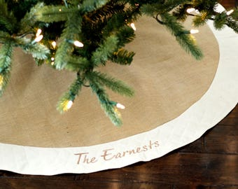 "Personalized Christmas Tree Skirt. 54"" Burlap Christmas Tree Skirt w/ Ivory, White or Red Quilted Trim. Personalized, Embroidered Tree Skirt"