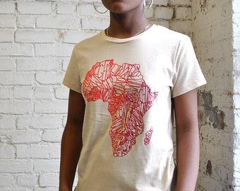 Africa Organic Map Tee - Africa Is Not a Country Tshirt - Traveler Top - African Continent T-shirt - Wanderlust Shirt -  Festival Tshirt