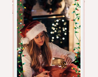 Holiday snapchat filter, christmas filter, merry christmas geofilter, holiday lights, on demand filter, party filter, christmas morning,xmas