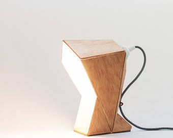 Paper and wood Capucha table lamp, origami birch wood accent lamp, geometric table lamp, exclusive handmade accent lamp