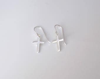Simple CROSS sterling silver dangle earrings, womens, girls earrings