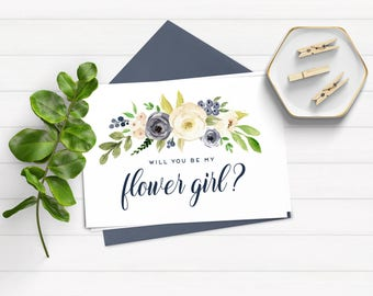 Will You Be My Flower Girl Card, Bridal Party Card, Bridesmaid Proposal, Instant Download, Printable Card, Ask Flowergirl