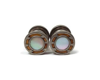 Vintage Snap Cufflinks Yellow Enamel with Inlaid Mother of Pearl Round Silver Tone Press To