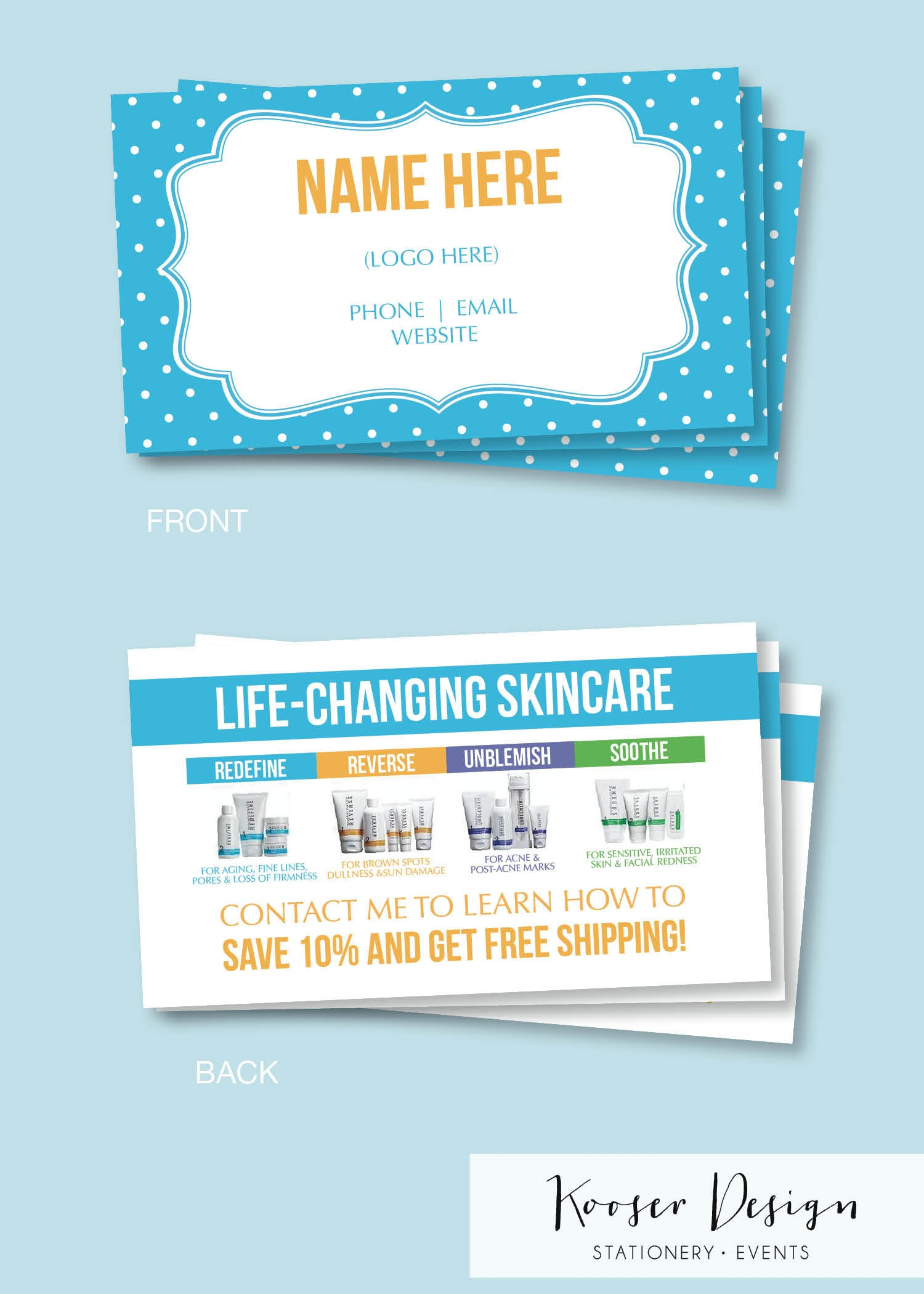 Skin Care Business Cards- Download or Print - Free Shipping ...