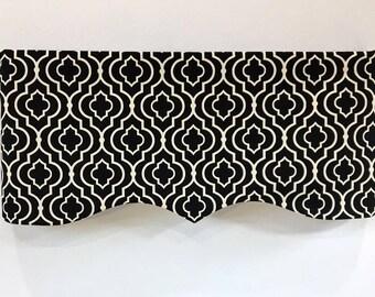 window valance faux cornice black white geometric modern cotton lined curves invisible rod pocket window treatment