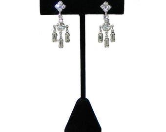 Vintage 1950's Rhinestone Drop Earrings