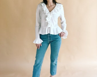 White Cotton Button Front Blouse With Ruffle Trim