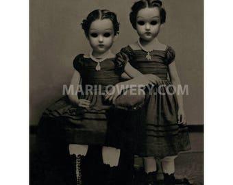 Halloween Decor, Creepy Twin Doll Girls, 8x10 Inch Art Print, Horror Decor, Mixed Media Collage, Halloween Wall Art