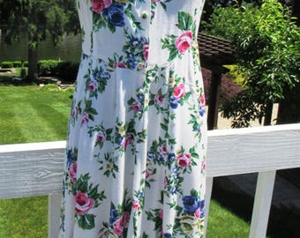Cabbage Rose Flower Garden Party Summer Dress Flowing Twirly Skirt  Size 6 8 10