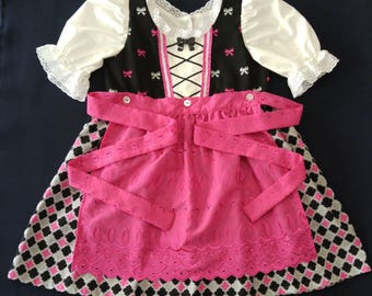 Girls  Pink and Black Dirndl