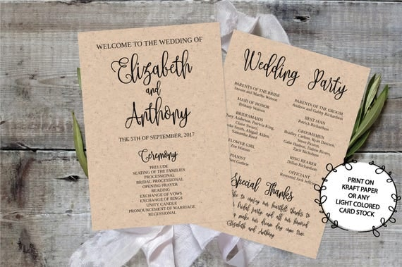 Wedding Program Template Printable Editable X Calligraphy - 5x7 wedding program template