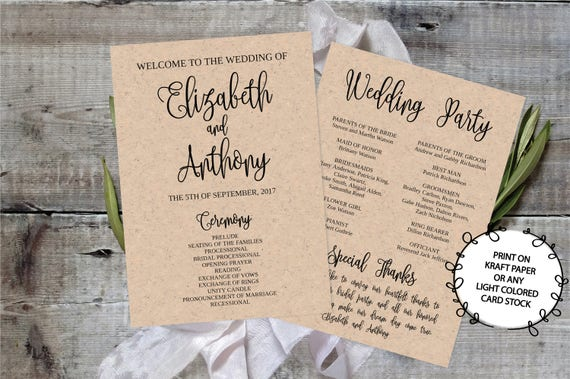 Wedding Program Template Printable Editable X Calligraphy - 5x7 wedding program template