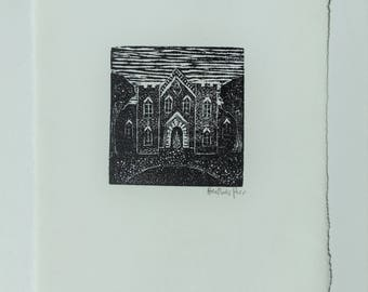 a tiny haunted house- wood engraving